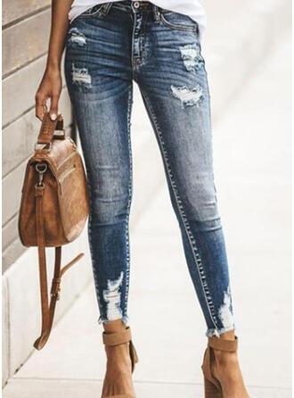 Grande taille Déchiré Longue Élégante Sexy Jeans
