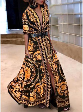Wydrukować Litera V Maxi Sukienkę przesunąć