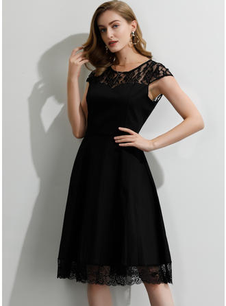Lace/Solid Short Sleeves A-line Knee Length Little Black/Party Dresses