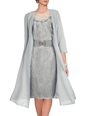 Couleur Unie Manches 3/4 Fourreau Longueur Genou Fête/Élégante Robes