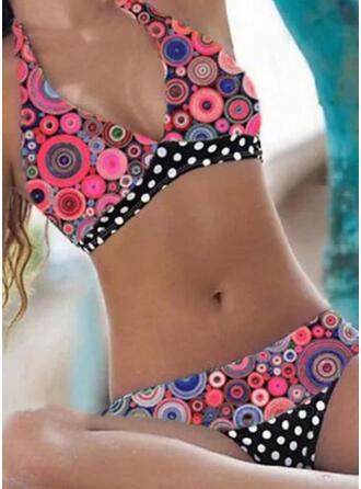 Nop Print Halter V-hals Grote maat Kleurrijk retro Bikini's Badpakken