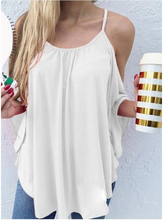 Solid Spaghetti Strap Batwing Sleeve Casual Blouses
