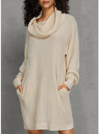Masywna dzianina Golf Casual Długie Sukienka sweterkowa