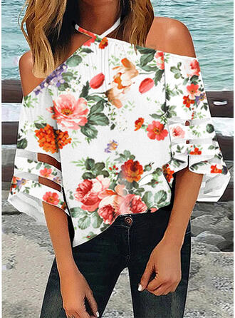 Print Floral Cold Shoulder 1/2 Sleeves Casual Blouses (1003295589)