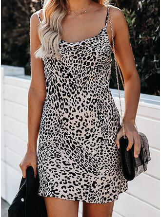 Leopard Sleeveless Sheath Above Knee Sexy Dresses