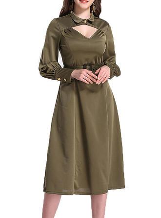 Jednolita Długie rękawy W kształcie litery A Midi Casual/Elegancki Sukienki