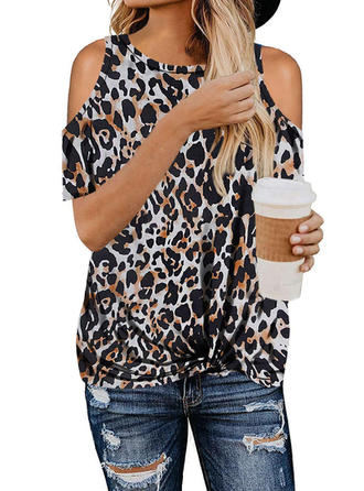 Leopard Cold Shoulder Short Sleeves Casual T-shirts