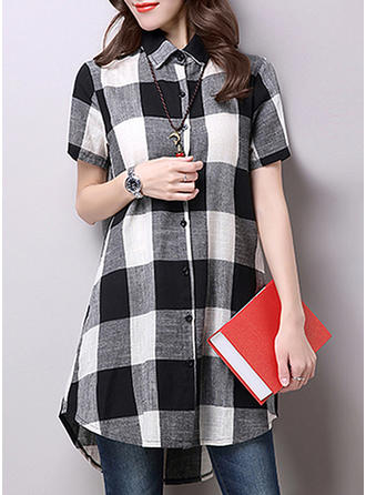 Plaid Short Sleeves Shift Above Knee Casual Dresses