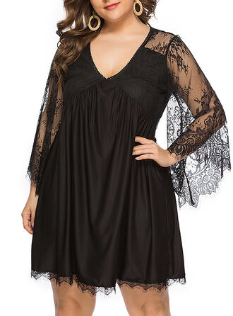 Lace/Solid Long Sleeves/Flare Sleeves Sheath Above Knee Little Black/Party/Plus Size Dresses