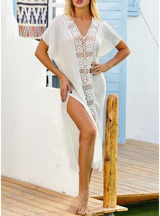Enfärgad V-ringning Sexig Vintage Strandklänningar Badkläder