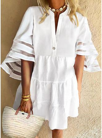 Solid 1/2 Sleeves/Flare Sleeves Shift Above Knee Casual/Vacation Tunic Dresses