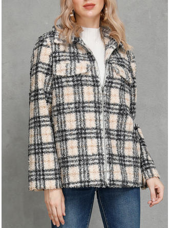 Polyester Plaid Wide-Waisted Coats