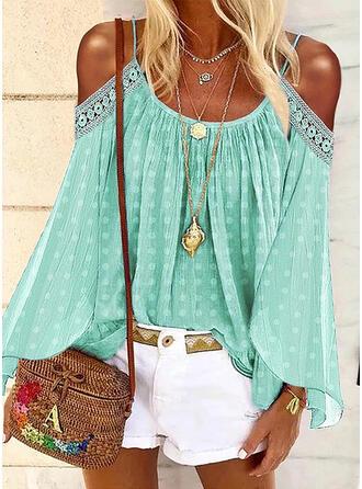 Lace PolkaDot Cold Shoulder Long Sleeves Casual Knit Blouses