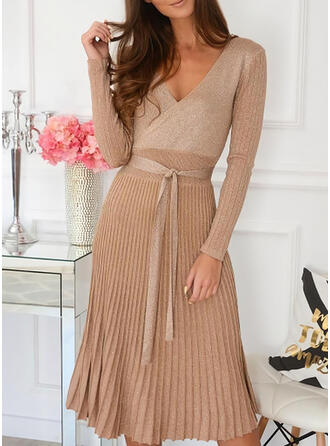 Solid Long Sleeves A-line Knee Length Elegant Sweater Dresses