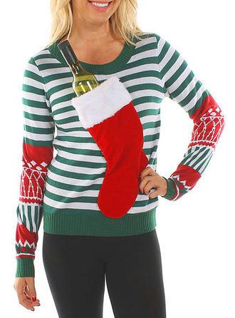 Poliester Okrągły Dekolt Wydrukować Patchworkowa Prążek Brzydki świąteczny sweter