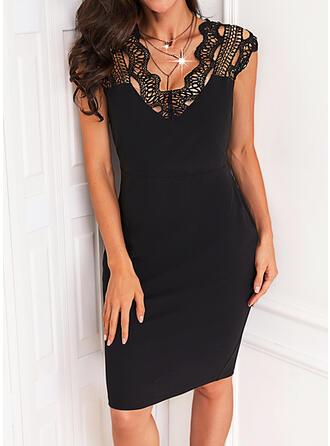 固体 レース 半袖 cap sleeve シースドレス 膝丈 リトルブラックドレス/エレガント ドレス