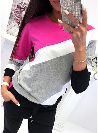 Color Block Round Neck Long Sleeves Casual Knit T-shirt