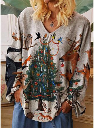 Animal Print V-Neck Long Sleeves Casual Christmas T-shirts