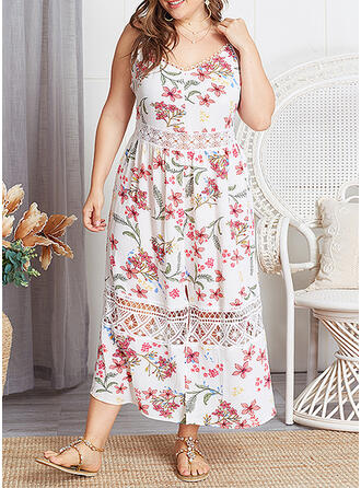 Lace/Print/Floral Sleeveless A-line Casual/Vacation/Plus Size Midi Dresses