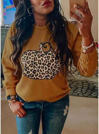 Print Leopard Halloween rund hals Lange ærmer Sweatshirts