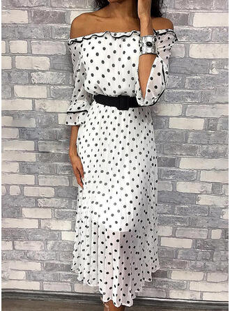 PolkaDot 3/4 Sleeves A-line Casual Midi Dresses