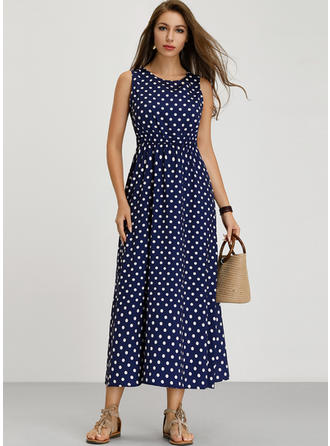 PolkaDot Sleeveless A-line Casual Maxi Dresses