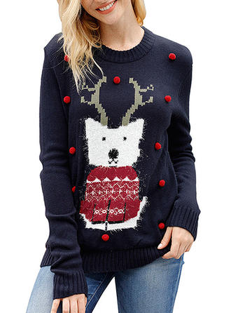 Animal Print Round Neck Ugly Christmas Sweater