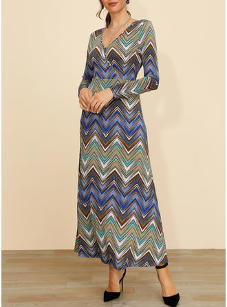 Print/Striped Long Sleeves A-line Maxi Casual Dresses