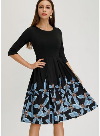 Print 1/2 Sleeves A-line Knee Length Vintage/Elegant Dresses