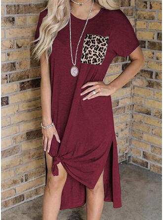 Patchwork/Leopard Short Sleeves Shift Casual Midi Dresses