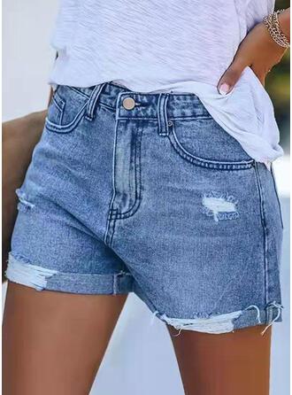 Sólido Juan Por encima de la rodilla Casual Bolsillo rasgados Botones Pantalones Pantalones cortos Vaqueros