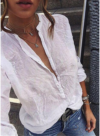 Solid Band Collar Long Sleeves Button Up Casual Shirt Blouses