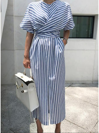 Striped 1/2 Sleeves Sheath Midi Casual/Elegant Dresses