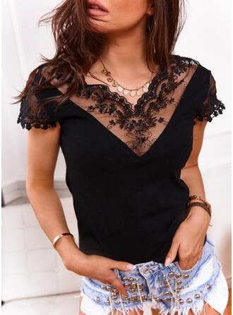 Jednolity Koronka Dekolt w kształcie litery V Krótkie rękawy Casual Elegancki Bluzki