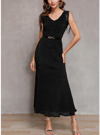 Sequins/Solid Long Sleeves Sheath Midi Little Black/Casual Dresses
