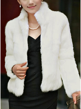 Faux Fur Long Sleeves Plain Shearling Coats