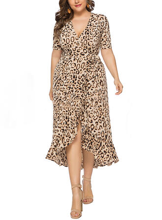 Leopard Short Sleeves Sheath Asymmetrical Casual/Plus Size Dresses