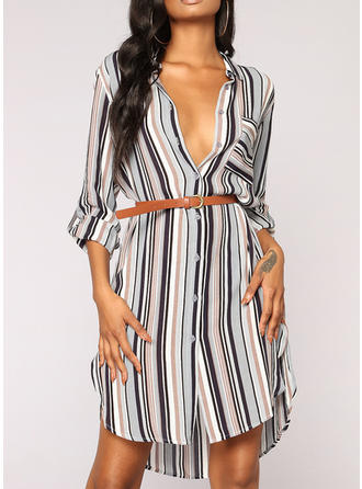 Striped 3/4 Sleeves Shift Knee Length Casual Dresses