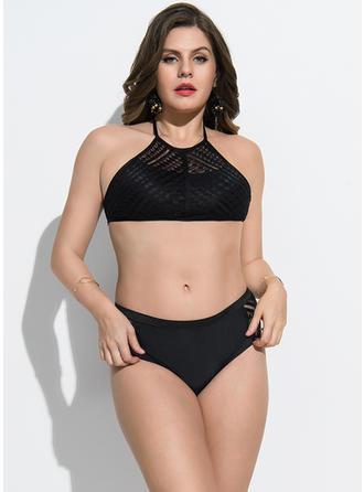 Elegancki Jednolity kolor Poliester Bikini Kostium kąpielowy