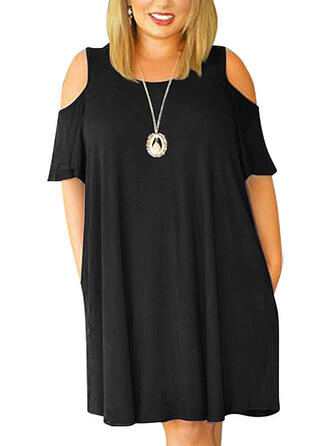 Solid Cold Shoulder Sleeve Shift Above Knee Casual/Plus Size Dresses