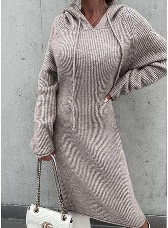 Jednolity Długie rękawy Raglan Sleeve Nieformalny Sukienki