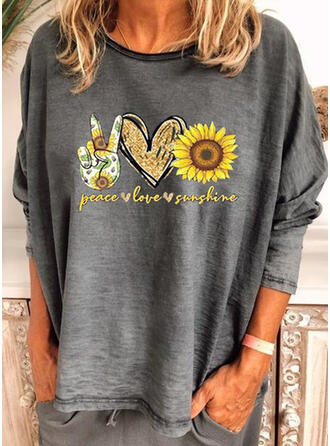 Sunflower Print Round Neck Long Sleeves T-shirts