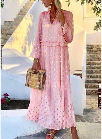 Sequins/PolkaDot Long Sleeves Shift Maxi Casual Dresses