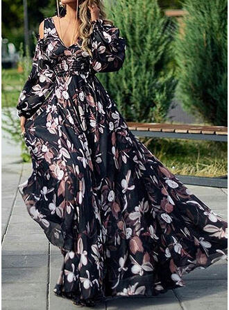Print Long Sleeves/Cold Shoulder Sleeve/Lantern Sleeve A-line Casual/Vacation Maxi Dresses