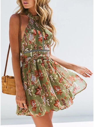 Lace/Print/Floral Sleeveless A-line Above Knee Casual/Vacation Dresses