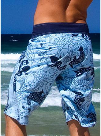 Uomo Stampa Pantaloncini da surf Costume da bagno