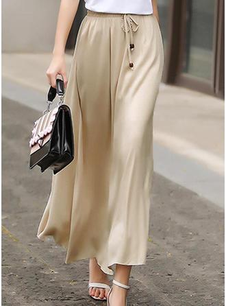 Baumwollmischungen Einfarbig Maxi A-Linie Röcke