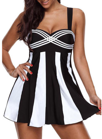 Striped Strap Elegant Swimdresses Swimsuits