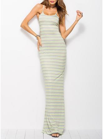 Striped Sleeveless Sheath Maxi Sexy/Casual Dresses