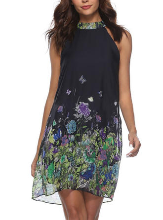 Print Floral Round Neck Above Knee Shift Dress
